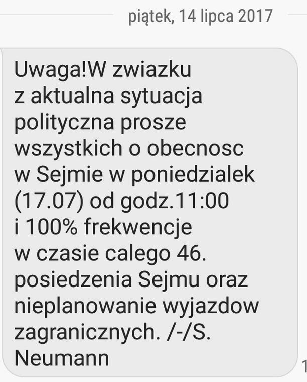 SMS od Sławomira Neumanna
