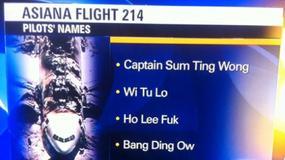 Wpadka stacji telewizyjnej KTVU dot. katastrofy Asiana Airlines; fałszywe nazwiska załogi
