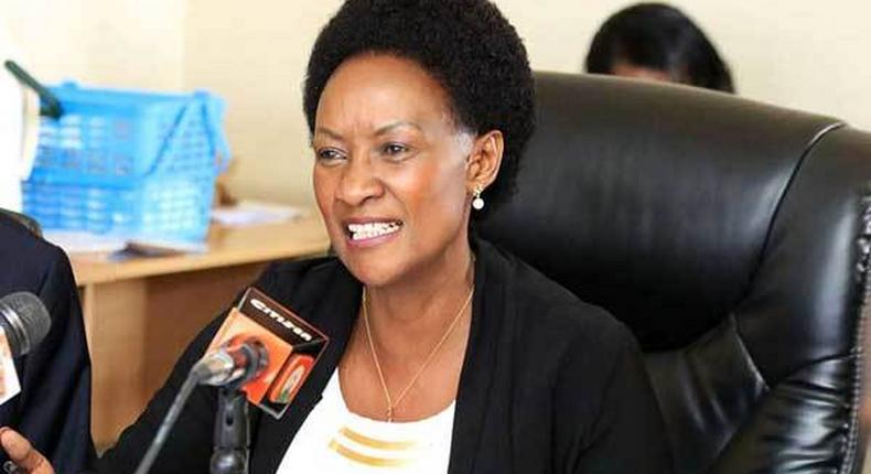 TSC CEO Nancy Macharia addressing the media