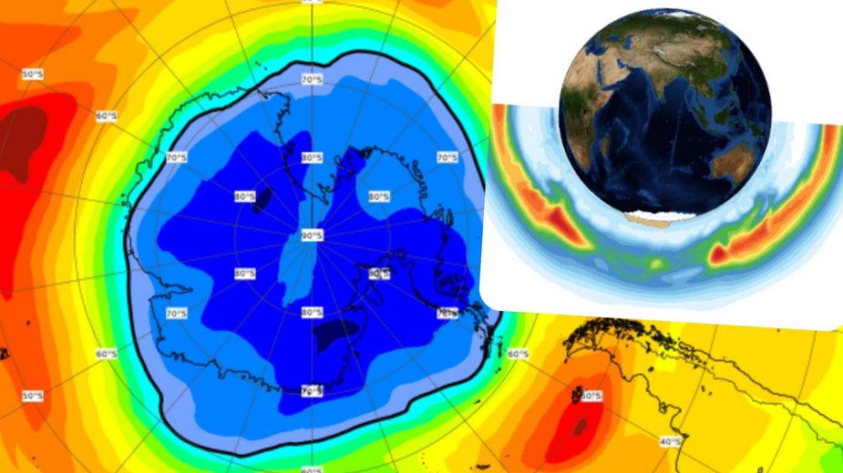 Rozmiar dziury ozonowej. Na biegunie południowym jest większa od Antarktydy