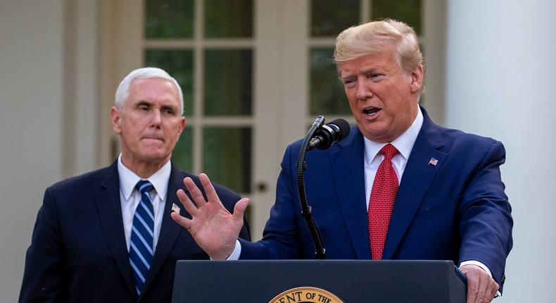 Then-Vice President Mike Pence and then-President Donald Trump in the Rose Garden on March 29, 2020.