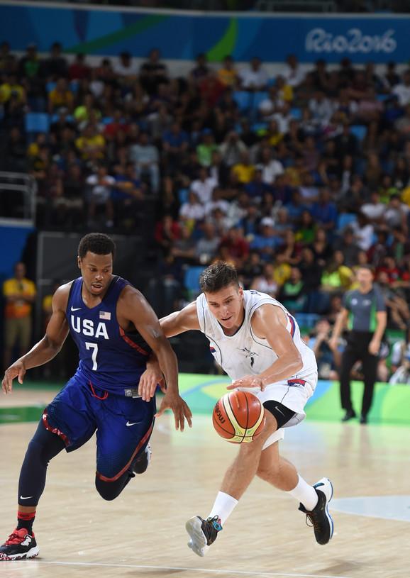 Detalj sa meča između Srbije i SAD odigrane na Olimpijskim igrama u Riju