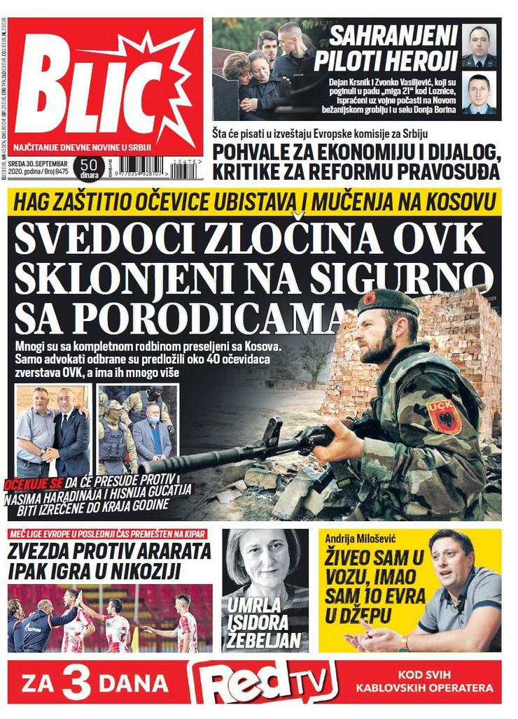 Blic naslovna za 30.09.2020.