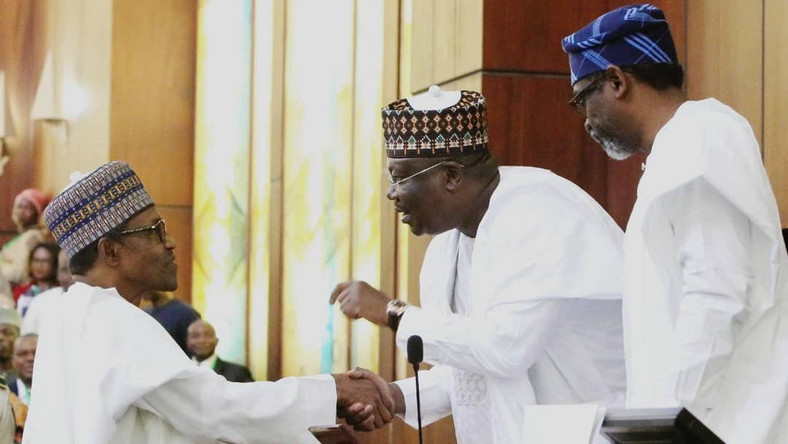 President Muhammadu Buhari, President of the Senate Ahmad Lawan and Speaker of the House of Representatives Hon. Femi Gbajabiamila at the presentation of 2020 Budget on the floor of the Senate. [Twitter/@DrAhmadLawan]