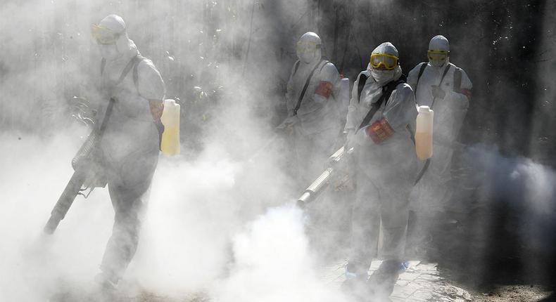 File image of a fumigation process. City Hall to conduct air fumigation over Coronavirus - Nairobi Public Health director Wilson Lang'at
