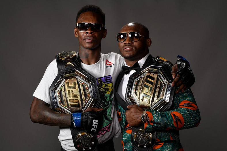 Israel Adesanya follows fellow Nigerian-born fighter Kamaru Usman as the only African champions in the UFC (Twitter/Style Bender)
