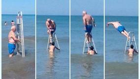 """Kreatywny Polak """"wybudował"""" aquapark na plaży w Łebie"""