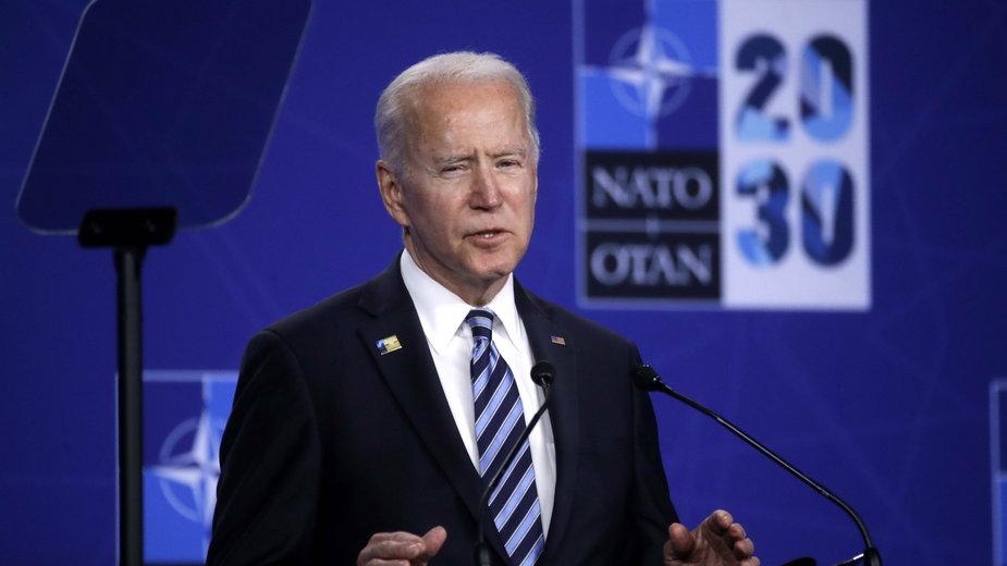 Joe Biden na konferencji prasowej w czasie szczytu NATO