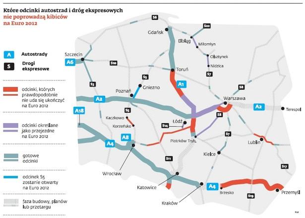 Odcinki dróg, które mogą zostać nieukończone na Euro 2012