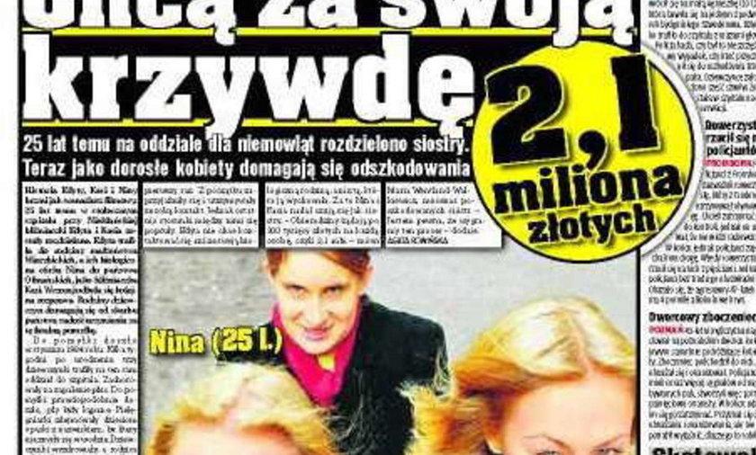 Chcą za swoją krzywdę 2,1 mln złotych