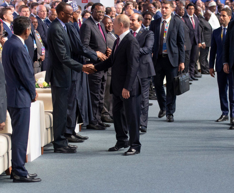 President Kagame shakes hand with President Putin at the opening of the Russia-Africa Economic Forum