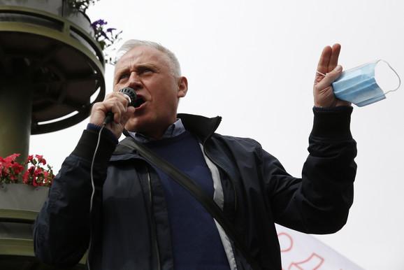 Lider opozicije Mikola Statkevič na protestu 24. maja u Minsku