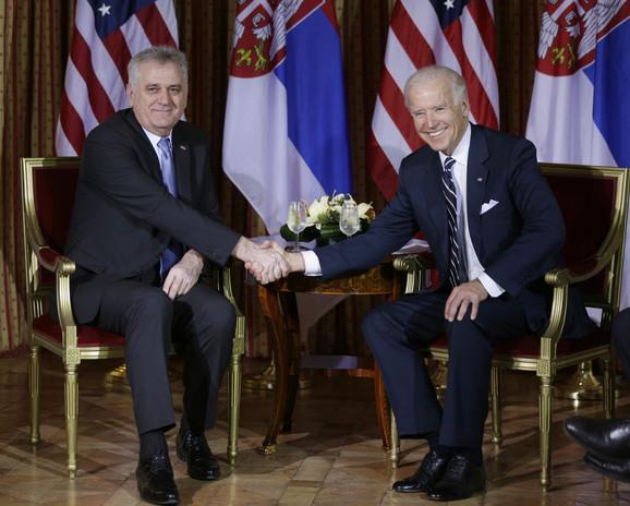 Tomislav Nikolić i Džozef Bajden prilikom ranijeg susreta