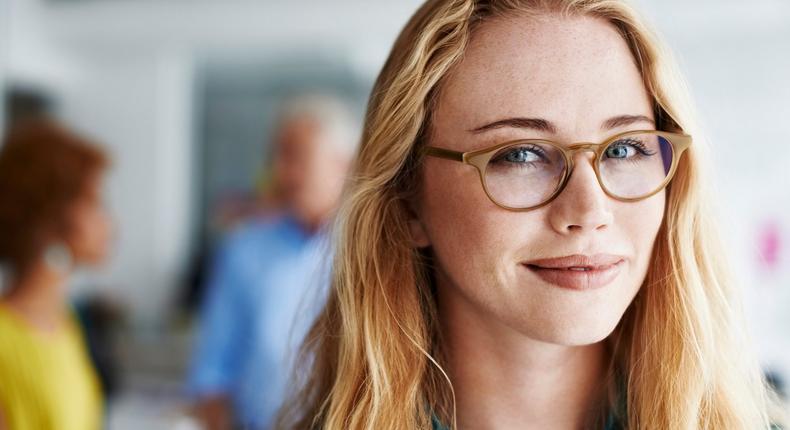 smart woman wearing glasses