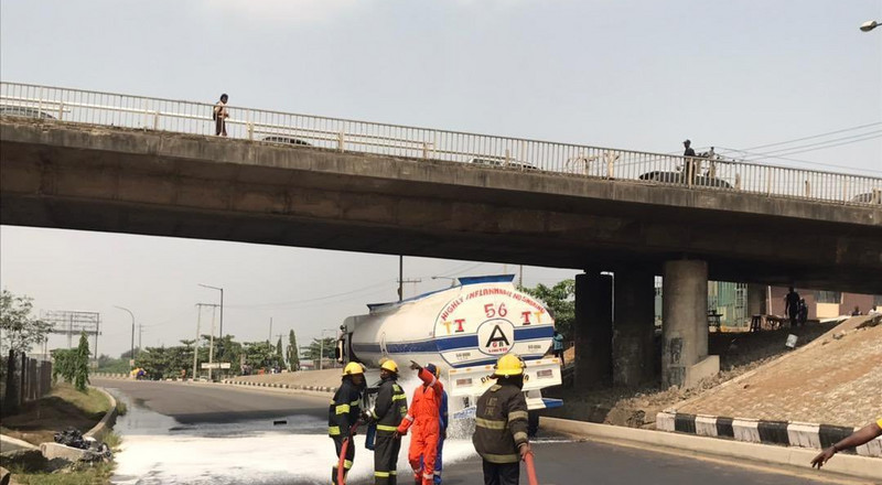 Crisis averted after another fuel tanker falls in Lagos