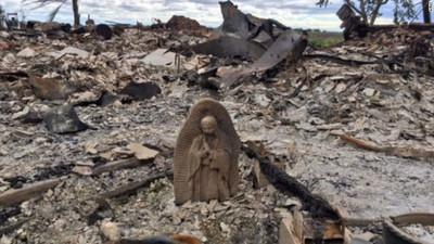 Fire destroys everything except statue of Virgin Mary