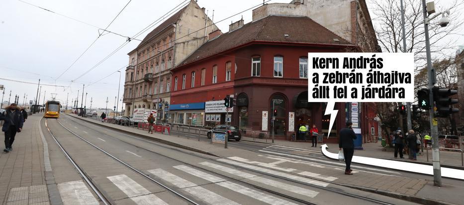 Grafikánkon az látszik, hogy Kern a Margit körúton a Pestre tartó oldalon haladt, majd a hirdetőoszlop után a zebrán keresztül felkanyarodott a járdára és beállt a pékség elé /Grafika: Séra Tamás
