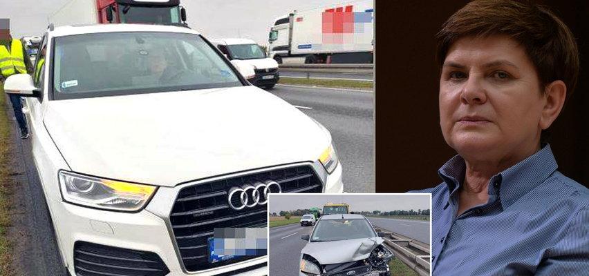 Wypadek z udziałem Beaty Szydło pod Wrocławiem. W jej drogie audi uderzyło rozpędzone auto