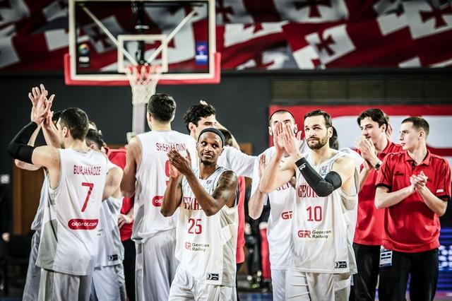Košarkaška reprezentacija Gruzije slavi pobedu nad Švajcarskom