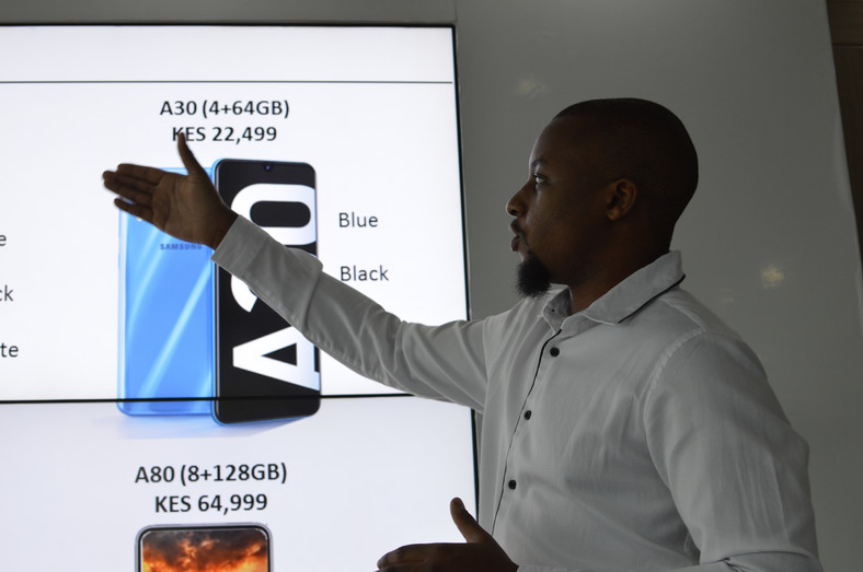 Ryan Mule, Product Marketing Manager Samsung Electronics East Africa during the launch of the galaxy A series phone  into the Kenyan market.