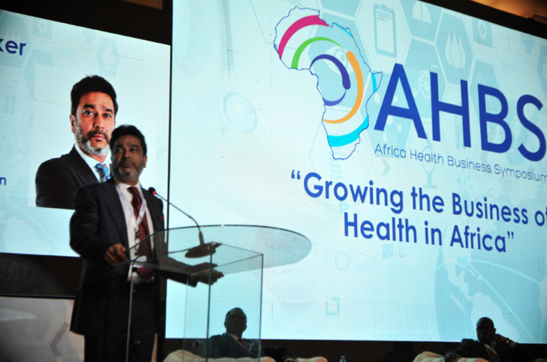 Dr. Amit Thakker, chairman of the Africa Healthcare Federation, gives a presentation at the 2016 Africa Health Business Symposium. Photo from Africa Health Business Symposium media