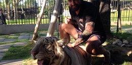 Kolejny polski piłkarz bawił się z tygrysem FOTO