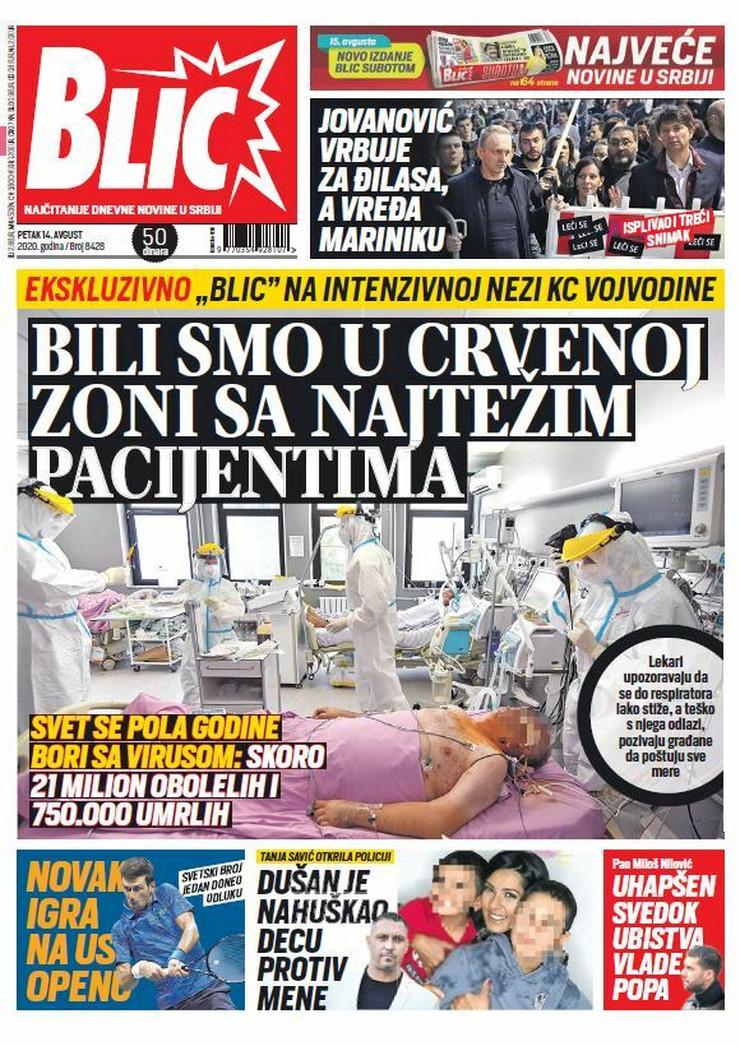Blic, naslovna za 14.08.2020.