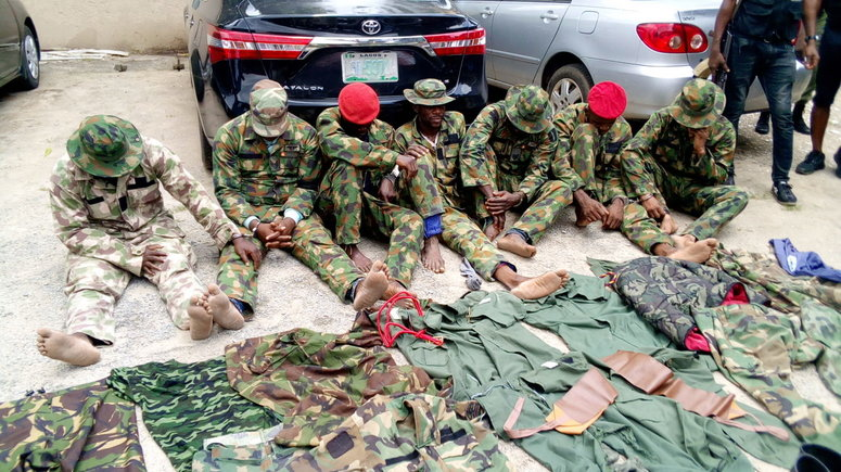 The soldiers, according to the police, have been involved in a series of kidnapping in Edo. (Image of nabbed dismissed military personnel used for illustrative purpose) [Premium Times]