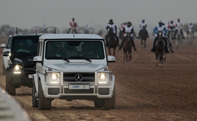 United Arab Emirates Prime Minister and Dubai Ruler Sheikh Mohammed bin Rashid al-Maktoum (R) drives his jeep during his 160 km Endurance Cup in Dubai January 10, 2015.