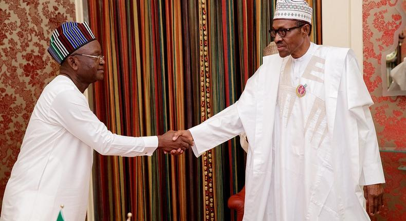 Benue State governor, Samuel Ortom (left), is grateful for  President Muhammadu Buhari's support [Presidency]