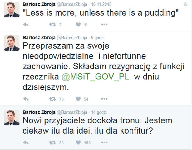 Bartosz Zbroja: Wpis na portalu Twitter