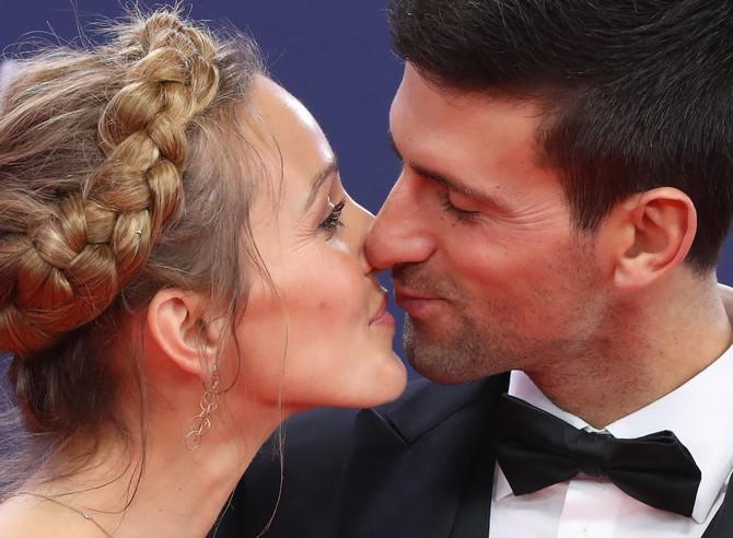 Jelena i Novak Đoković na svečanosti u Monaku u februaru ove godine
