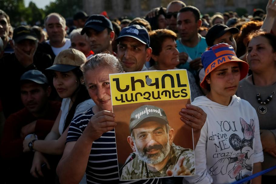 Armenian opposition supporters attend a rally after protest movement leader Nikol Pashinyan announce