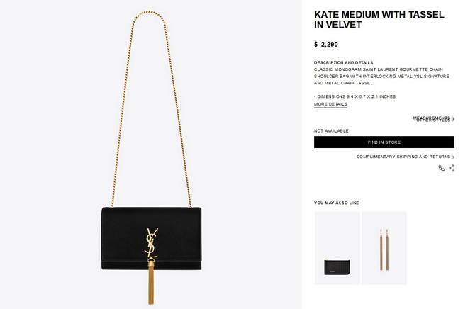YSL Kate torbica od pliša