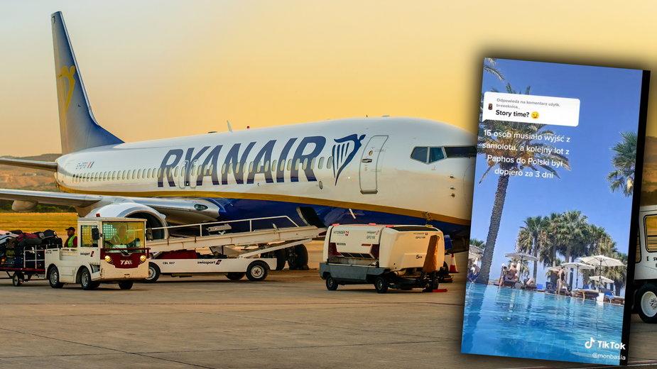 Samolot Ryanair na lotnisku w Pafos
