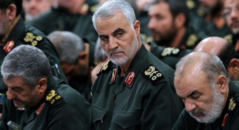 A file photo of Major General Qassem Suleiman (centre)
