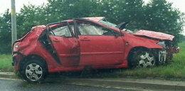 Tak wyglądało auto po wypadku Błęckiej-Kolskiej