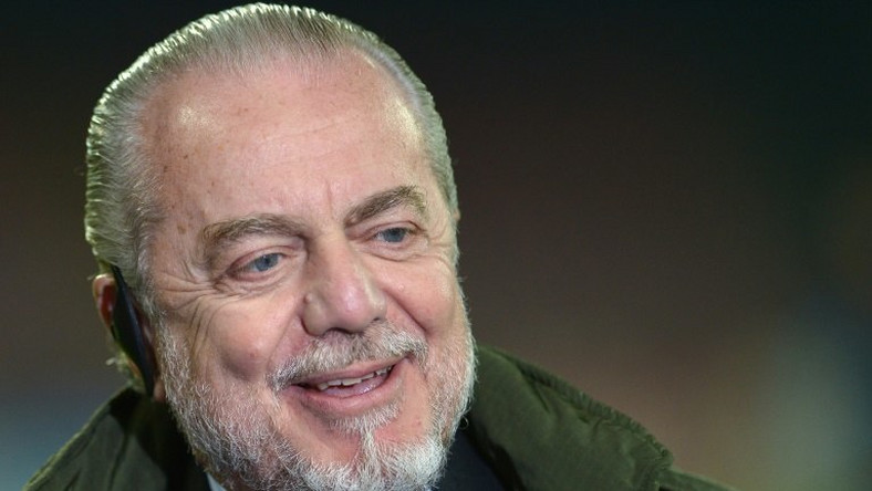 Italian film producer and President of the Napoli, Aurelio De Laurentiis at the San Paolo Stadium in Naples on December 11, 2013