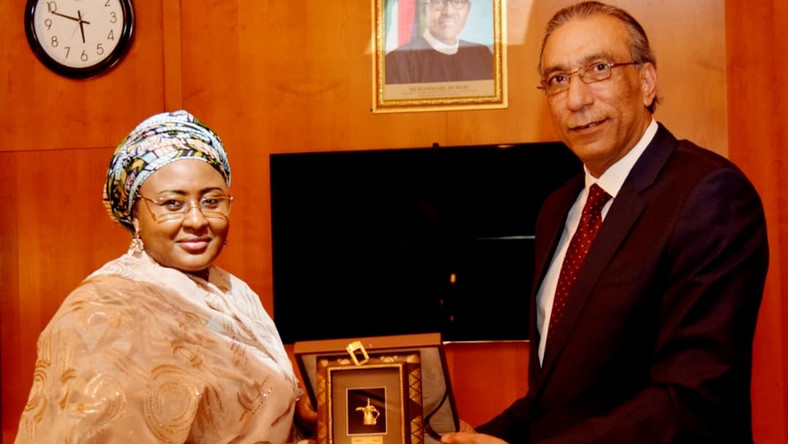 First Lady Aisha Buhari with the Saudi Arabian Ambassador to Nigeria, Amb Adnan Bostaji in Abuja on Tuesday (NAN)
