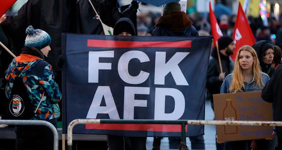 Protest protiv izborne kampanje AfD u Kulmbahu 14. februara