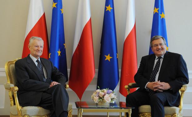 Profesor Zbigniew Brzeziński i Bronisław Komorowski