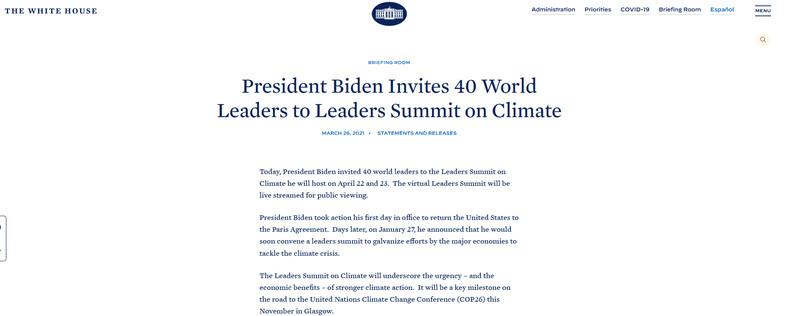 Ogłoszenie wezwania światowych przywódców na stronie internetowej Białego Domu