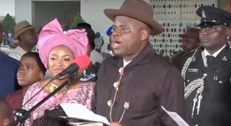Following the Supreme Court's verdict, Douye Diri sworn-in as Bayelsa Governor.  (TheNation)