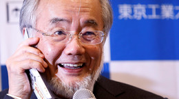 Ohsumi, a professor of Tokyo Institute of Technology, attends a news conference after he won the Nobel medicine prize at Tokyo Institute of Technology in Tokyo