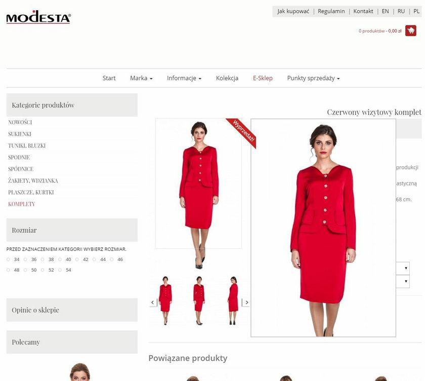 Kostum marki Modesta kosztuje teraz 1,250,00 zł