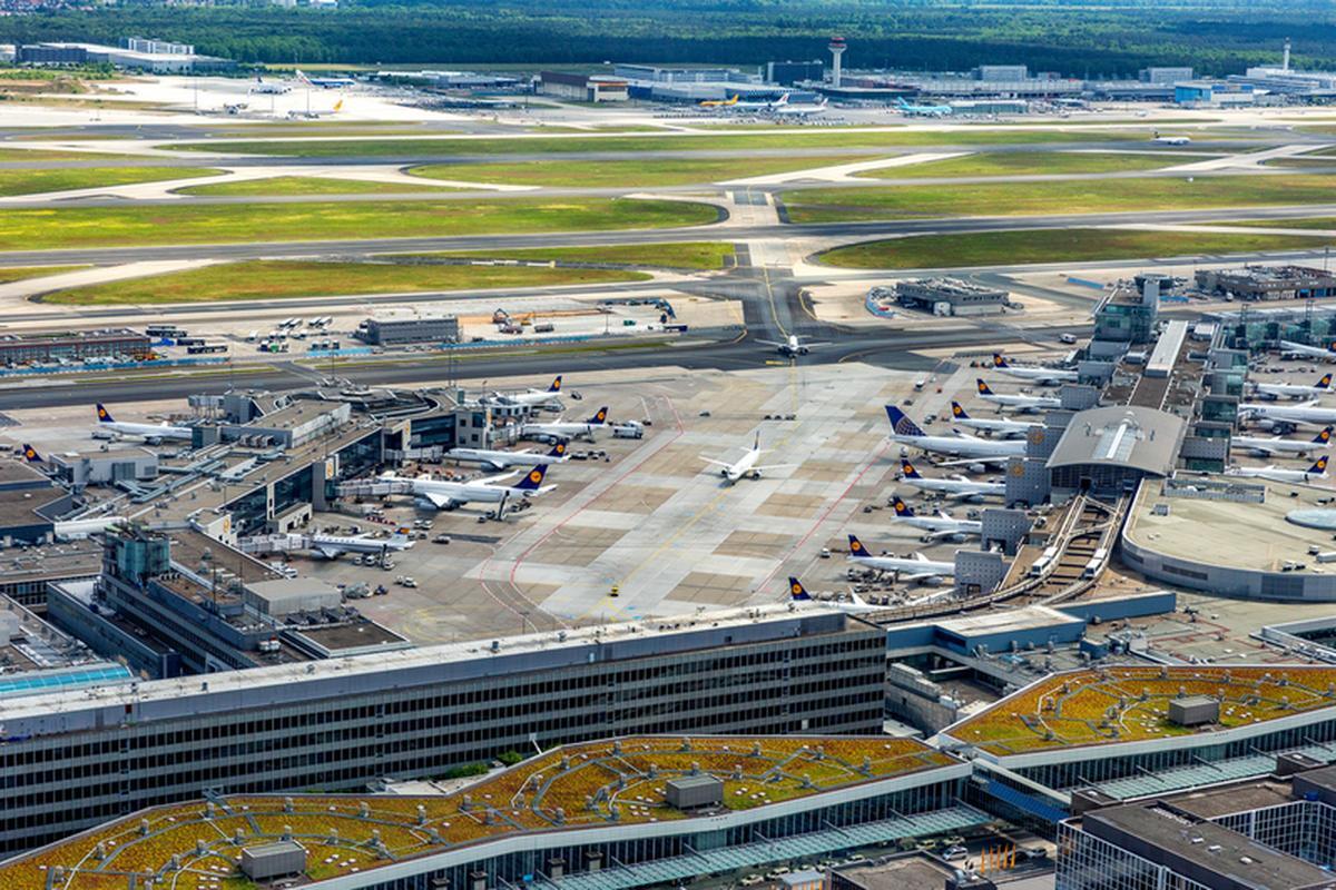 Lotnisko we Frankfurcie z lotu ptaka