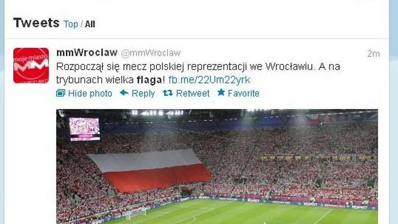 Polska flaga na meczu Polska - Czechy