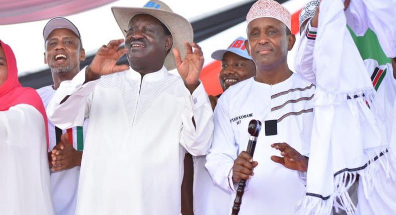 Raila Odinga and other leaders at the BBI rally in Garissa