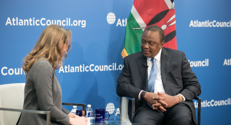 "Kenyan President, Uhuru Kenyatta, addressing leaders of the Atlantic Council at a forum dubbed ""The Future of The US-Kenya Strategic Partnership"