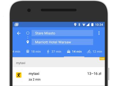 W aplikacji Google Maps można zamawiać już nie tylko Ubera, ale i taksówki MyTaxi